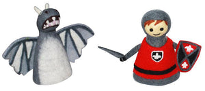Felt puppet :: sets of 2-puppets-Rainbows and Clover-dragon & knight-Rainbows and Clover