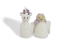 Load image into Gallery viewer, Felt puppet :: sets of 2-puppets-Rainbows and Clover-fairy & unicorn-Rainbows and Clover