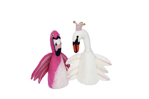 Felt puppet :: sets of 2-puppets-Rainbows and Clover-flamingo & swan-Rainbows and Clover