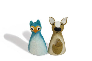 Felt puppet :: sets of 2-puppets-Rainbows and Clover-owl & kangaroo-Rainbows and Clover