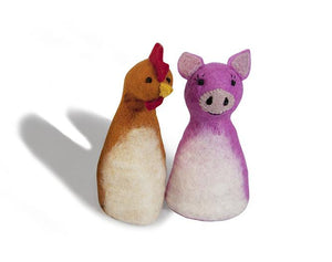 Felt puppet :: sets of 2-puppets-Rainbows and Clover-pig & chook-Rainbows and Clover