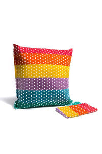 large cushion cover : reversible-cushion-Rainbows and Clover-rainbow spot / cloud 65cm-Rainbows and Clover