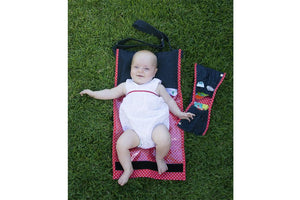 nic-nac : nappywrap nappy bag & change mat in one-nappywrap-Rainbows and Clover-poppy dot-Rainbows and Clover
