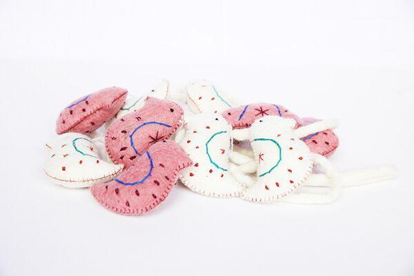 Pink and cream robin bird felt garland-garland-Rainbows and Clover-Rainbows and Clover