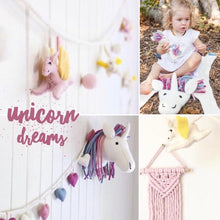Load image into Gallery viewer, Pink & sunshine unicorn felt garland-garland-Rainbows and Clover-Rainbows and Clover