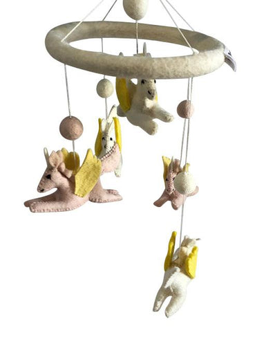 Unicorn felt mobile in cream, pink and sunshine.-mobiles-Rainbows and Clover-Rainbows and Clover