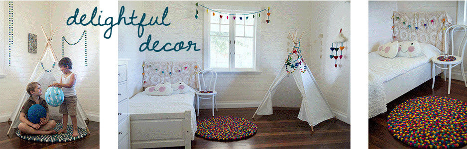 rainbows and clover nic-nac nappywrap kids teepee felt ball rug garland room decor