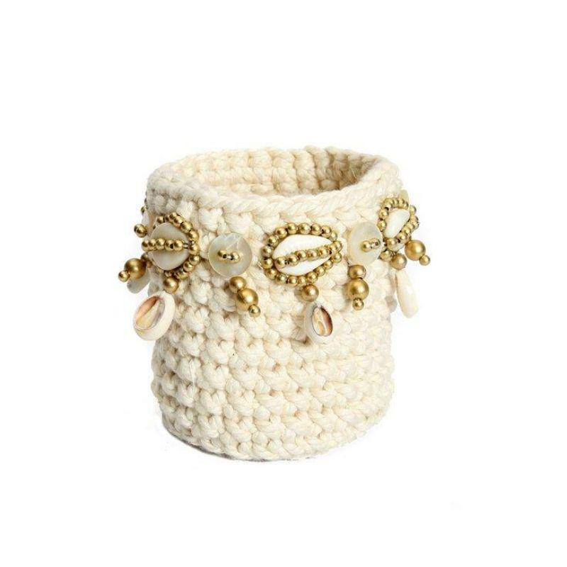 The Gold Macrame Candle Holder - Natural-Woonaccessoires-Bazar Bizar-Ik Hout ervan.
