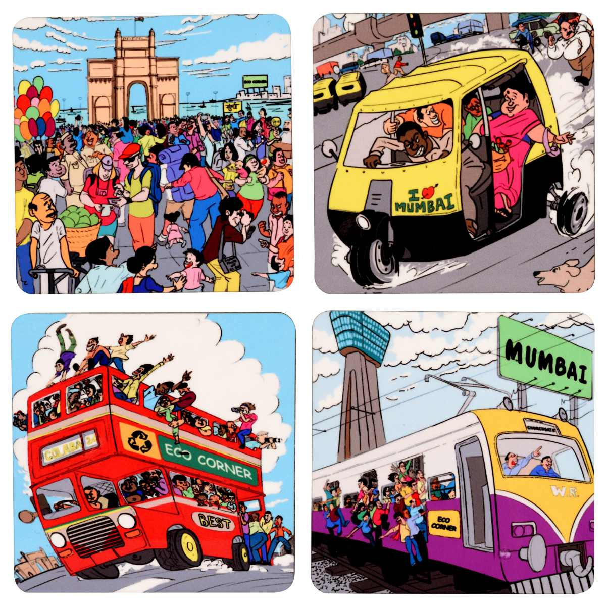 Aamchi Mumbai Coaster Set of 4