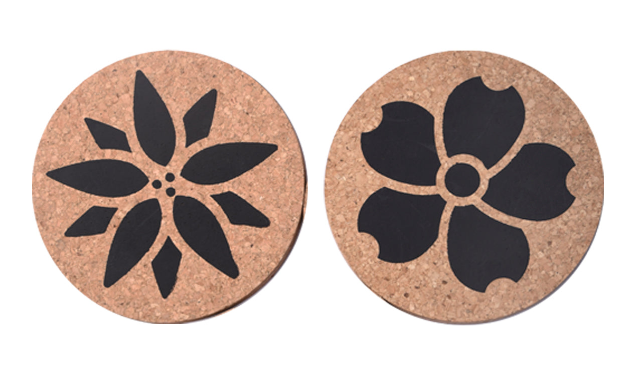 Floral Icon Cork Trivet Set of 2