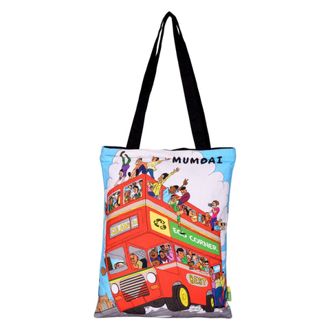 Small Aamchi Mumbai Bus Cotton Bag