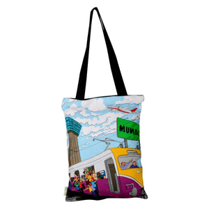 Small Aamchi Mumbai Train Cotton Bag