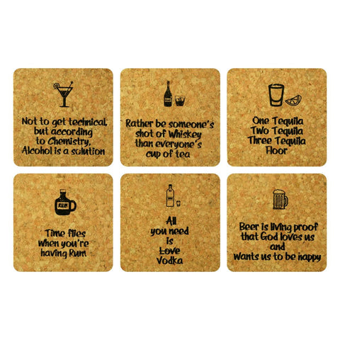 Bar Fun Cork Coaster Set