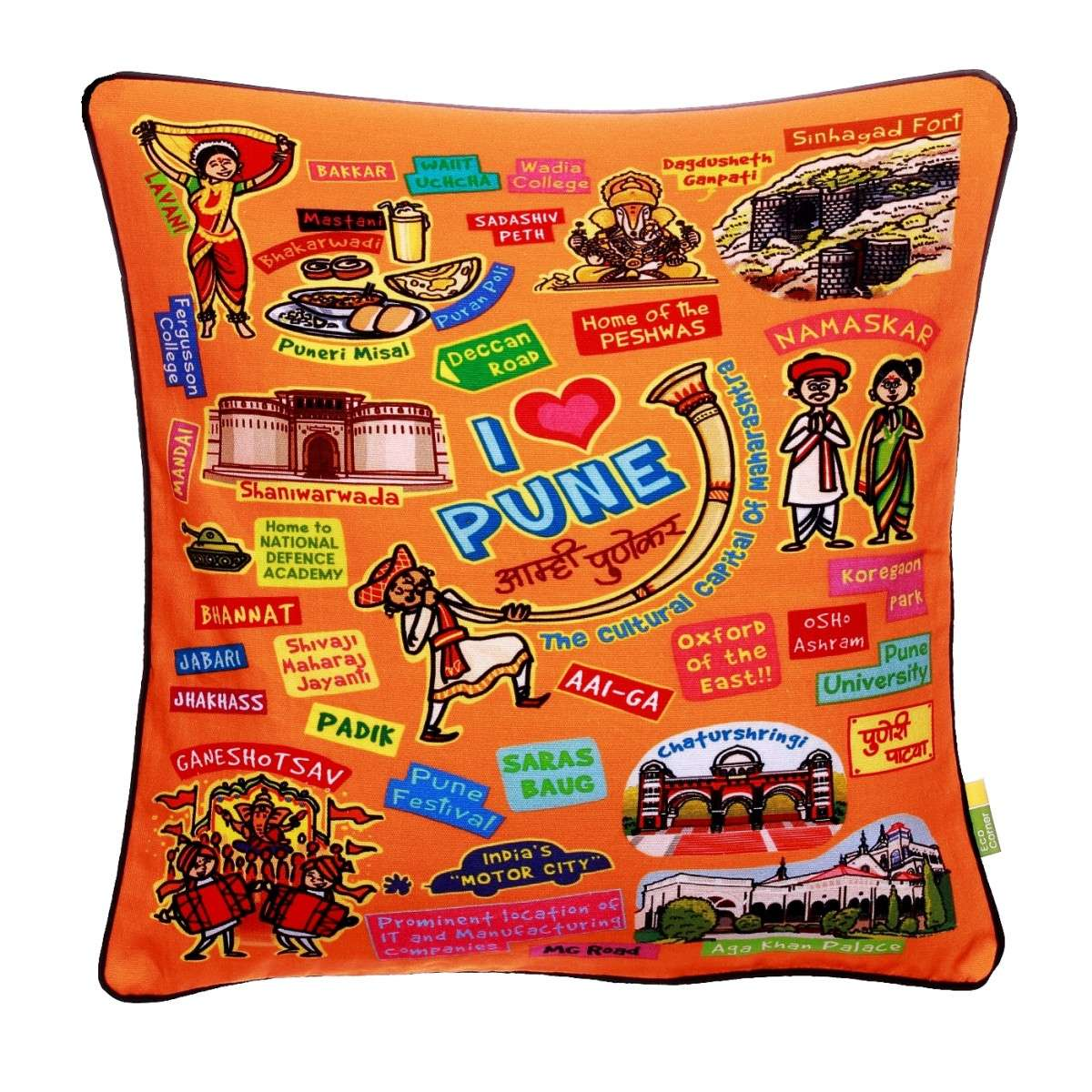 Coloured Pune Cushion cover