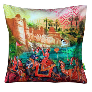 Indian Art Parade Cushion Cover