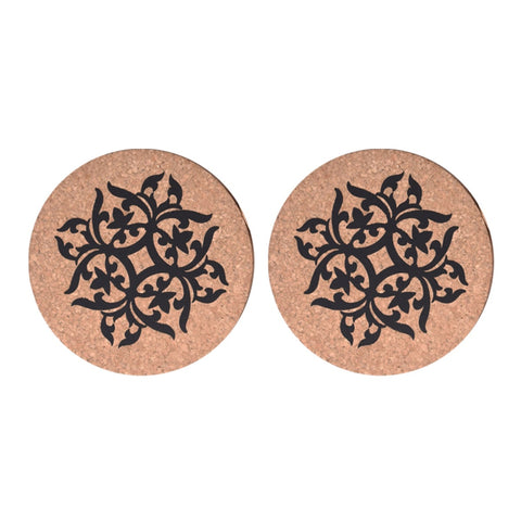 Indian Design Cork Trivet Set of 2