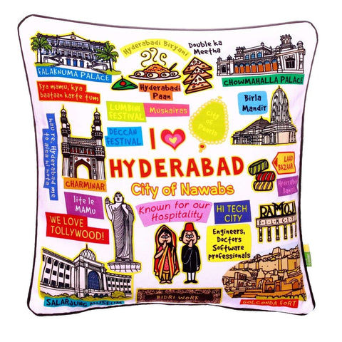 White Hyderabad Cushion Cover