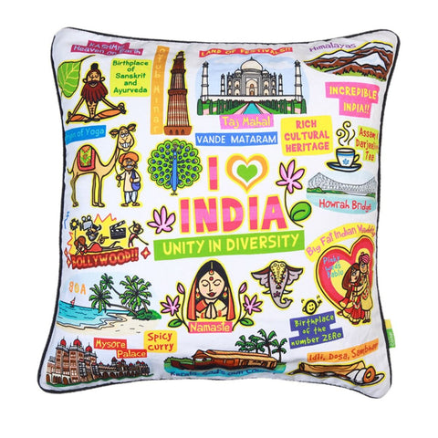 White India Cushion Cover