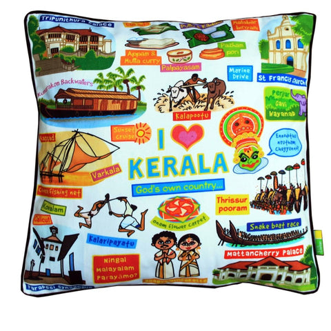 White Kerala Cushion Cover