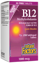 Load image into Gallery viewer, Natural Factors Methyl B12 1000mcg 210 Sublingual Tablets