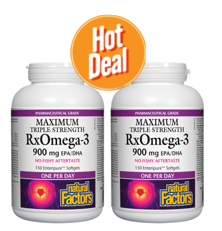 Natural Factors RxOmega Triple Strength 150 Softgels BUY ONE GET ONE FREE!