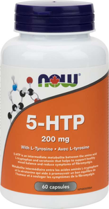 NOW 5-HTP 200mg With  L-Tyrosine 60 Vegetable Capsules
