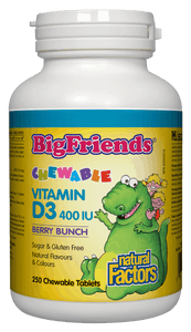 Natural Factors Big Friends Vitamin D 400 IU 250 Chewable Tablets Berry Bunch Flavour