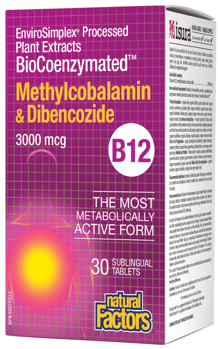 Natural Factors B-12 Methylcobalamin & Dibencozide 3000mcg 30 Tablets