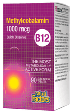Load image into Gallery viewer, Natural Factors Methyl B12 1000mcg 90 Sublingual Tablets