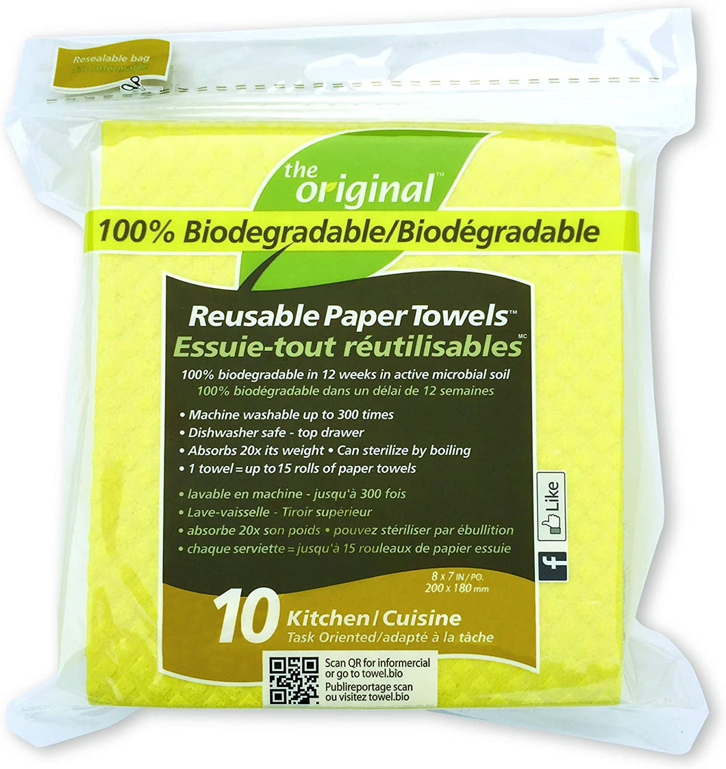 The Original Biodegradable Reusable Paper Towels Kitchen (10 Pack)
