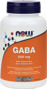 NOW GABA 500mg With Vitamin B6 100 Vegetable Capsules
