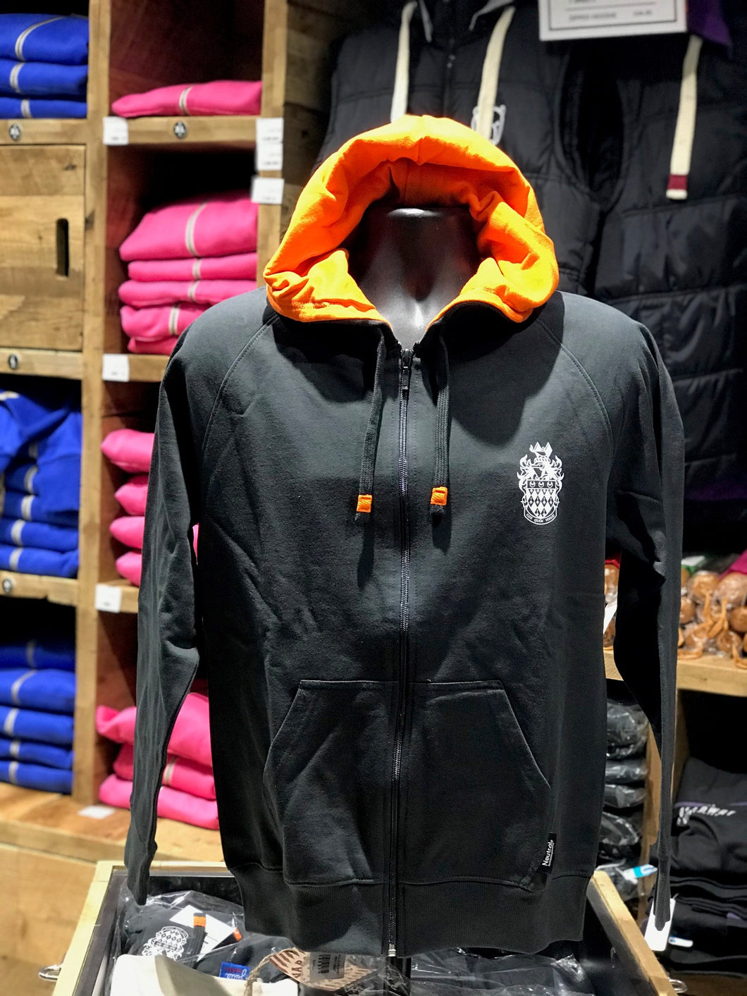 RHUL Front Crest Slate Hoodie Zipped.