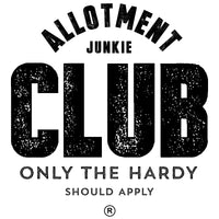 Allotment Junkie Club - Only the hardy should apply. Black and white logo, emblem style graphic