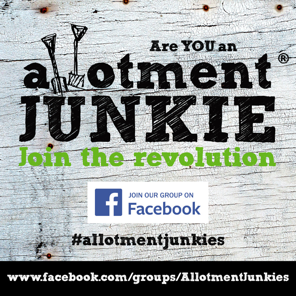 Allotment Junkie logo graphic on white textured wooden board. Join out Facebook Group