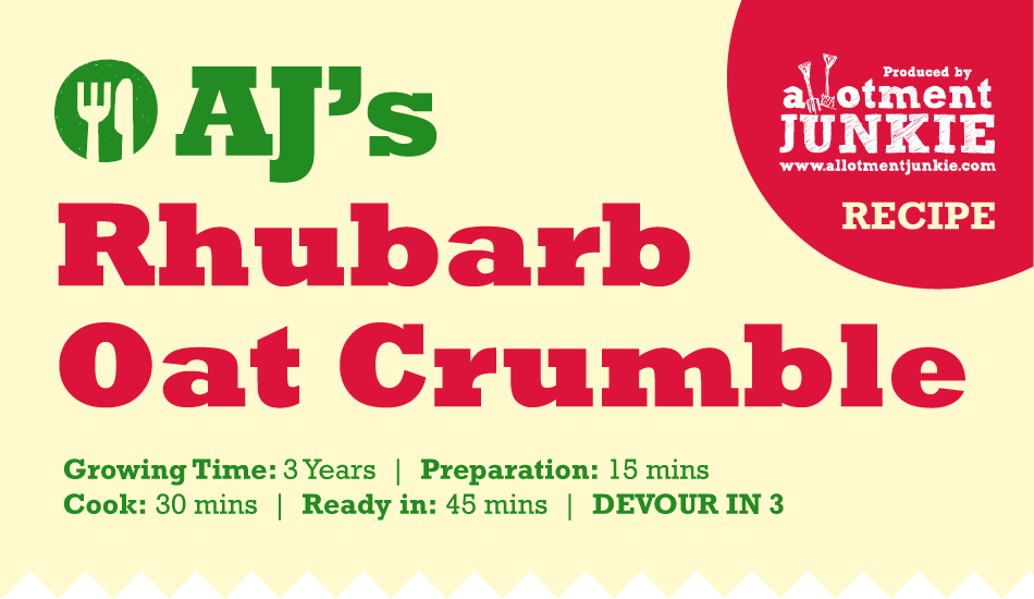AJ's Rhubarb Crumble, graphic recipe header