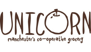 Unicorn Manchester's co-operative grocery logo