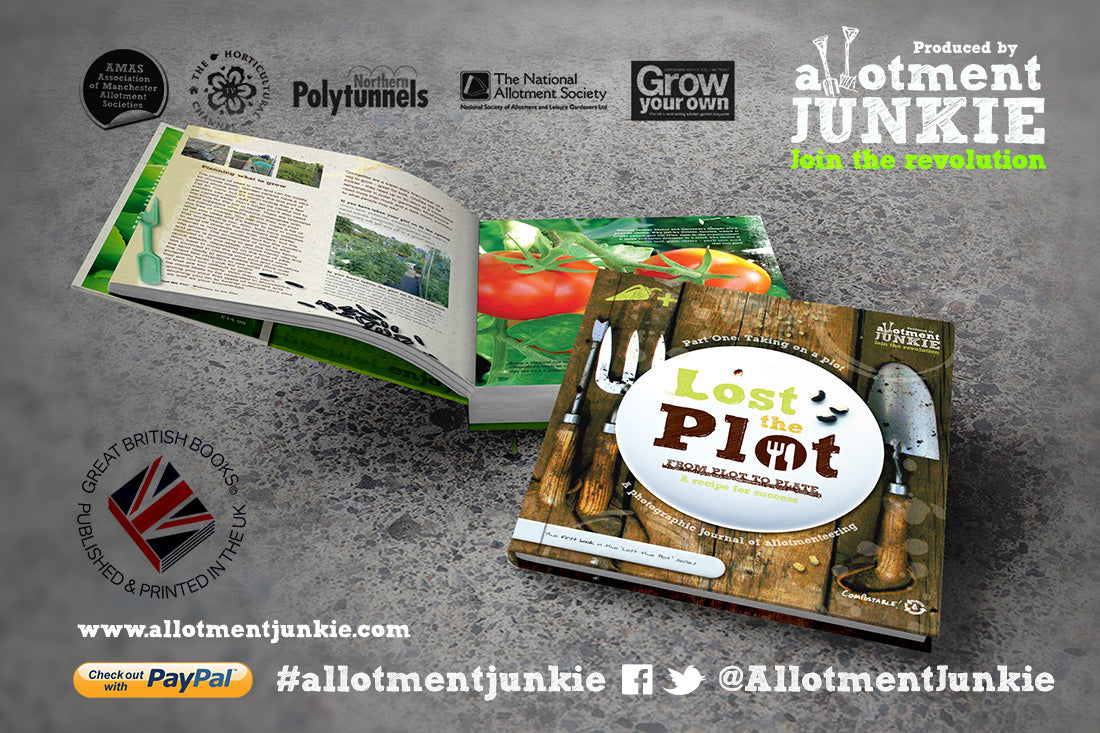 Lost the Plot, the book published by allotment junkie open on a textured surface to show inner pages and the cover