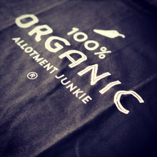 Load image into Gallery viewer, Close up image - 100% Organic black t-shirt by Allotment Junkie®