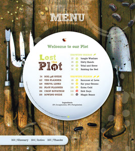 Menu page or contents page in Lost the Plot allotment book by allotment junkie