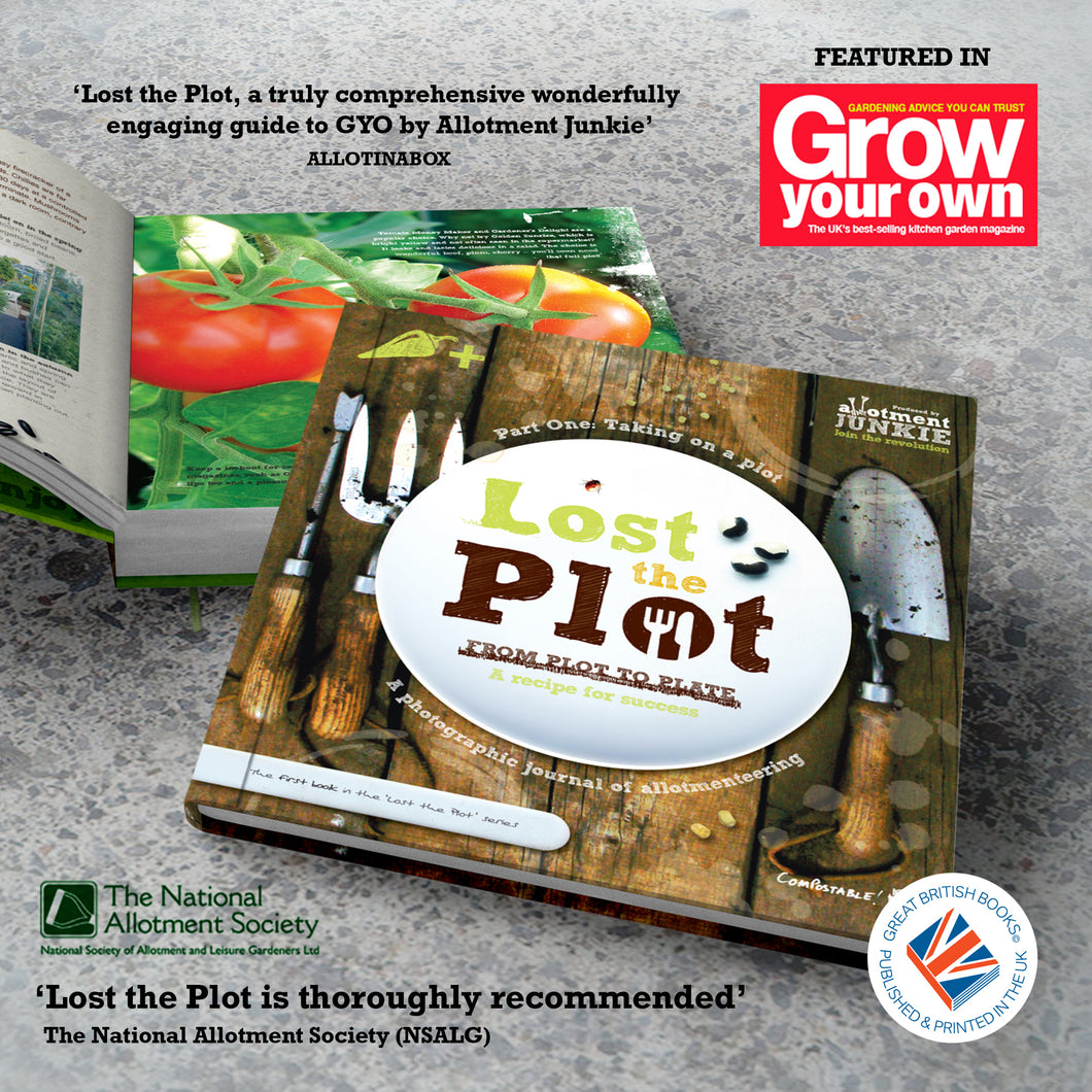 Lost the Plot - Paperback Book graphic showing the cover with logos and allotment book reviews