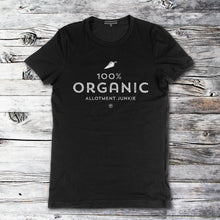 Load image into Gallery viewer, 100% Organic black t-shirt by Allotment Junkie®