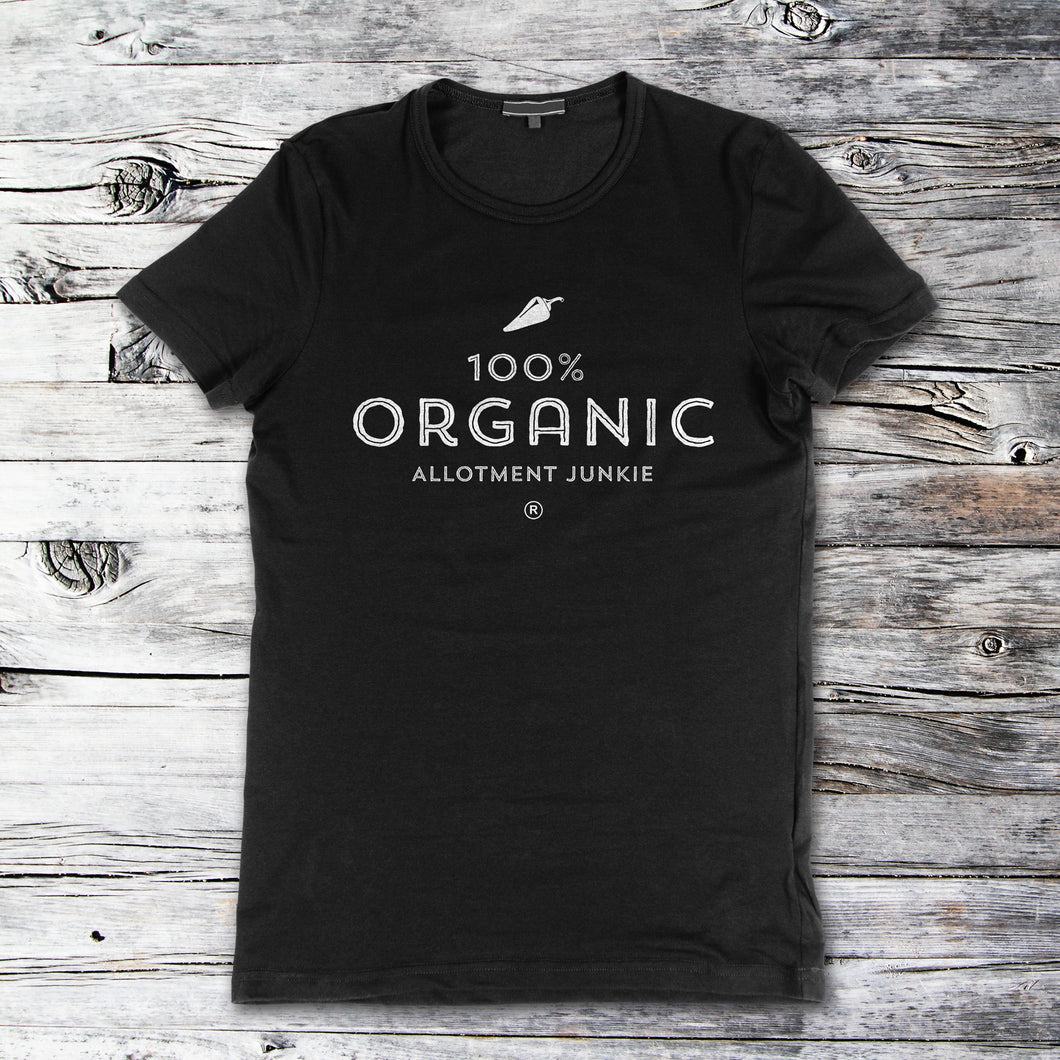 100% Organic black t-shirt by Allotment Junkie®