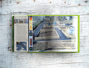 Double page spread showing page content of Lost the Plot allotment book by allotment junkie