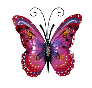 Butterfly pink metal wall decor