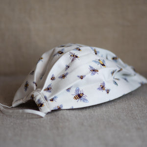 Handmade bee print cotton face mask