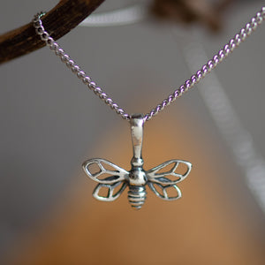 Silver miniature bumble bee necklace - Henryka