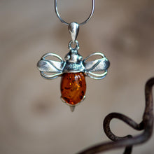 Load image into Gallery viewer, Bumble Bee Necklace in Silver and Amber - Henryka