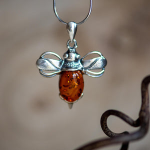 Bumble Bee Necklace in Silver and Amber - Henryka