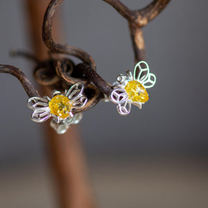 Honey Bee Stud Earrings in Silver and Amber - Henryka