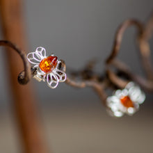 Load image into Gallery viewer, Honey Bee Stud Earrings in Silver and Amber - Henryka